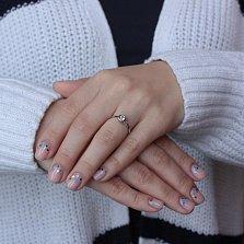 Золотое кольцо Simple Plan в белом цвете с завальцованным фианитом