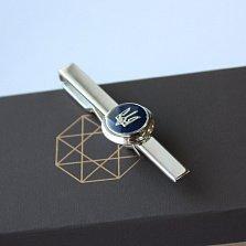 Серебряный зажим для галстука с эмалью Патриот