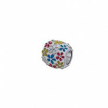 Серебряный шарм Цветущий луг с разноцветной эмалью