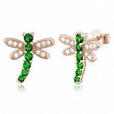 Серебряные сережки с позолотой и зеленым цирконием Стрекозы
