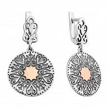 Серебряные узорные серьги-подвески Алисия с золотыми накладками