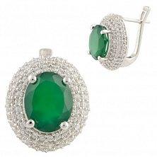Серебряные серьги Ингрид с зеленым агатом и фианитами