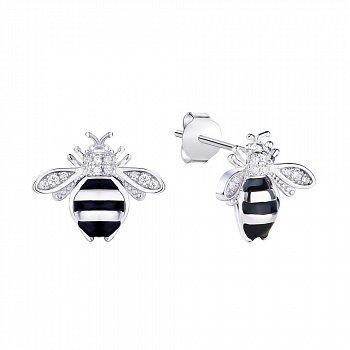 Серебряные серьги-пуссеты Пчелки с эмалью и фианитами 000113729