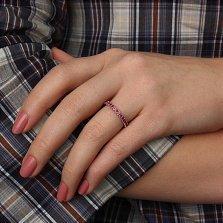 Серебряное кольцо рубинами Каприз