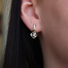 Золотые серьги с бриллиантами Таинственный цветок