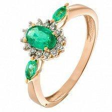 Золотое кольцо с изумрудами и бриллиантами Аделаида