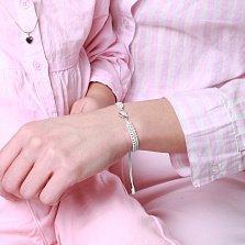 Детский плетеный браслет Обожаю тебя с cеребряной вставкой и фианитом, 10-10см