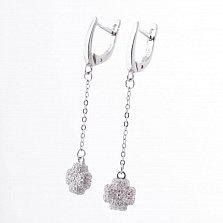Серебряные серьги Пелагея с фианитами