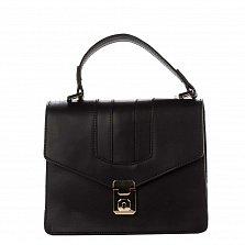 Кожаный клатч Genuine Leather 8693 черного цвета с короткой ручкой на клапане и металлическим замком