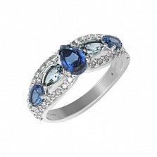 Серебряное кольцо Синтия с кварцем под лондон топаз, голубым кварцем и фианитами