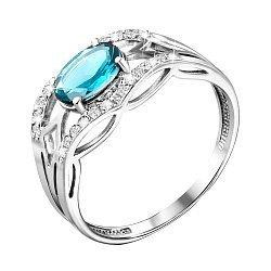 Кольцо в белом золоте с голубым топазом и фианитами 000104171