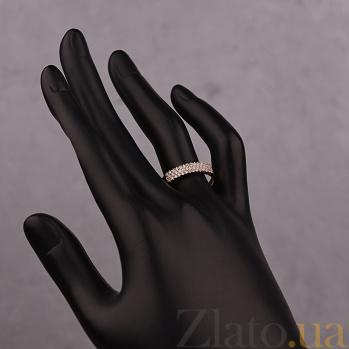 Золотое кольцо в красном цвете с фианитами Воплощение желаний 000023153
