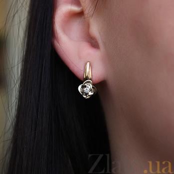 Золотые серьги с бриллиантами Таинственный цветок VLA--25030