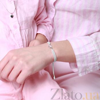 Детский плетеный браслет Обожаю тебя с cеребряной вставкой и фианитом, 10х20см 000080672