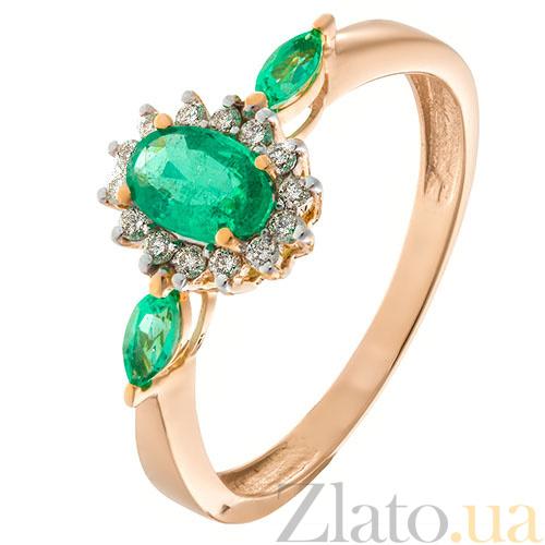 Золотое кольцо с бриллиантами и изумрудами Аделаида в интернет магазине Zlato.ua