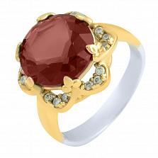 Кольцо из серебра и бронзы Камалия с синтезированным рубином и фианитами