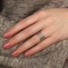Серебряное ажурное кольцо Звездные узоры с фианитами