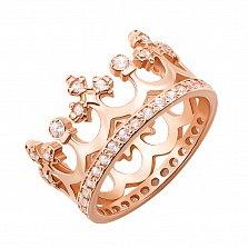Золотое кольцо-корона Сказочное королевство в красном цвете с фианитами