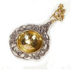 Серебряное ситечко для чая Лев с позолотой