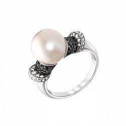 Золотое кольцо Велия в белом цвете с белым жемчугом и бриллиантами