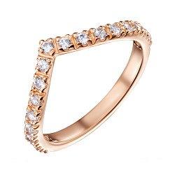Золотое кольцо с изогнутой дорожкой фианитов 000101680