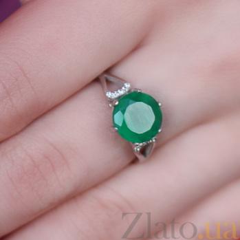 Серебряное кольцо Мелина с зеленым агатом 1729/9р зел агат