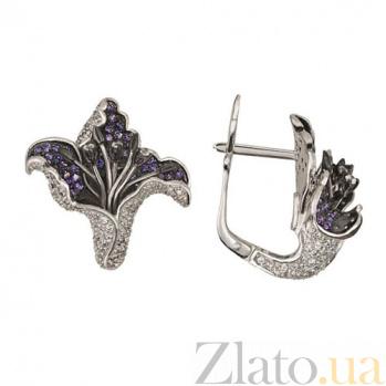 Серьги из белого золота с фиолетовым цирконием Ирис VLT--ТТ2249