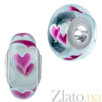 Серебряный шарм Признание в любви с муранским стеклом 000078323