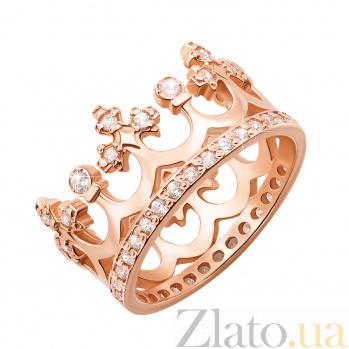 Золотое обручальное кольцо-корона Сказочное королевство с фианитами 000000237