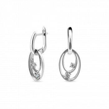 Серебряные серьги-подвески с фианитами 000149461