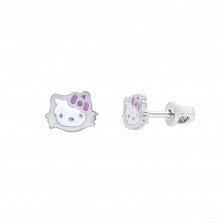 Детские серебряные серьги Kitty с эмалью