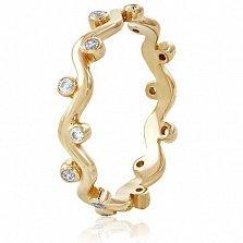 Золотое кольцо с кристаллами Swarovski Полина