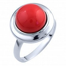 Серебряное кольцо Дарла с красным кораллом