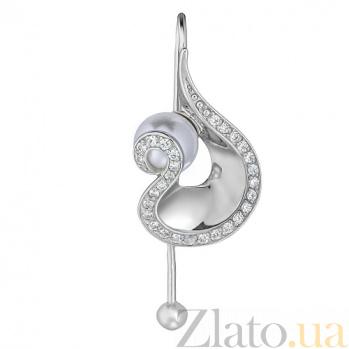 Серебряные серьги Ариадна с жемчугом TNG--420696С