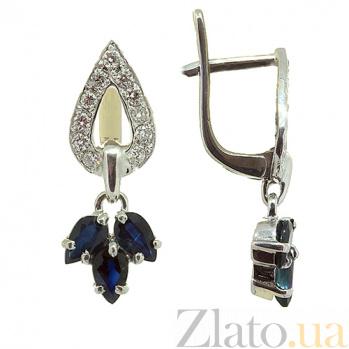 Серебряные серьги с цирконием и сапфирами Санти ZMX--ECzS-6537-Ag_K