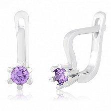 Серебряные серьги с фиолетовыми фианитами Сиенна