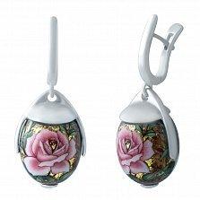 Серебряные серьги-подвески Розалина с цветной эмалью
