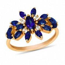 Золотое кольцо Батерфляй с синтезированными сапфирами и белыми фианитами