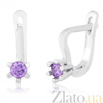 Серебряные серьги с фиолетовыми фианитами Сиенна SLX--С2ФА/203