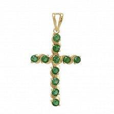 Золотой крестик Вероника с синтезированным изумрудом
