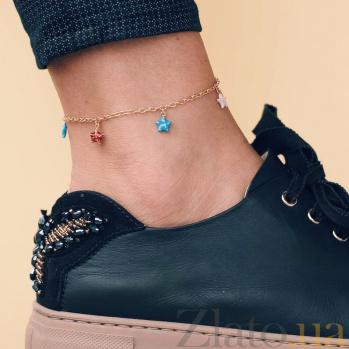 Золотой браслет на ногу с цветной эмалью Морские звезды  ONX--б01464