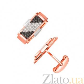 Золотые запонки с фианитами Джаз VLT--Е914