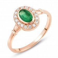 Золотое кольцо Фаиза с изумрудом и фианитами