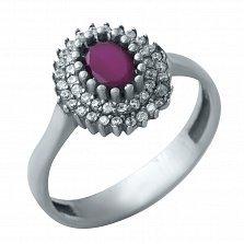 Серебряное кольцо Марина с рубином и фианитами