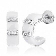 Керамические серьги с серебром и фианитами Vogue
