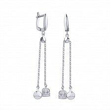 Серебряные серьги-подвески Шарик и корона с фианитами