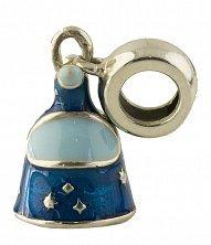 Серебряный шарм Колокольчик с синей эмалью