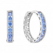 Золотые серьги Марокко в белом цвете с голубыми и белыми кристаллами Swarovski