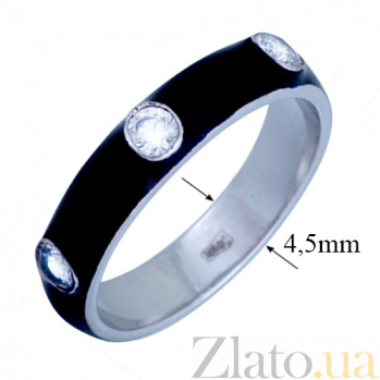 Золотое кольцо Пастель с фианитами и эмалью чёрного цвета К221бел/чёр