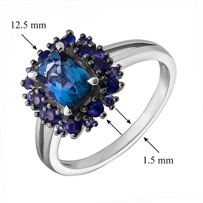Золотое кольцо Мадлен с лондон топазом и сапфирами 000029243